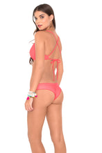 COSITA BUENA - Underwire Adjustable Top & Wavey Brazilian Ruched Back Bottom • Fire Coral