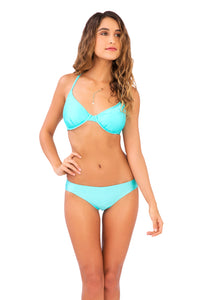 COSITA BUENA - Underwire Adjustable Top & Reversible Seamless Full Bottom • Aquamarine