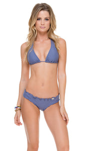 COSITA BUENA - Halter Top & Wavey Brazilian Ruched Back Bottom • Blue Moon