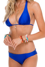 COSITA BUENA - Halter Top & Side Tab Seamless Full Bottom • Electric Blue