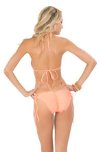 COSITA BUENA - Molded Push Up Bandeau Halter & Wavey Full Tie Side Ruched Back • Miami Peach