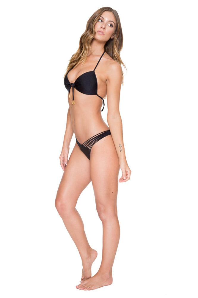 COSITA BUENA - Molded Push Up Bandeau Halter & Strappy Brazilian Ruched Back Bottom • Black