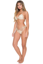 COSITA BUENA - Molded Push Up Bandeau Halter & Strappy Brazilian Ruched Back Bottom • Gold Rush