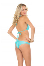 COSITA BUENA - Molded Push Up Bandeau Halter & Strappy Brazilian Ruched Back Bottom • Aruba Blue