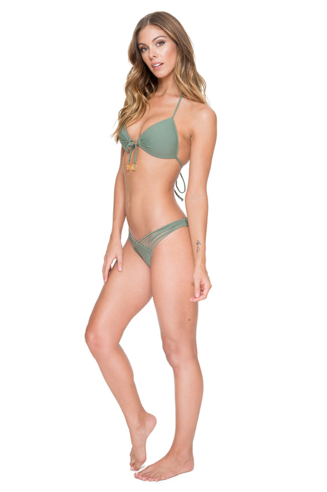 COSITA BUENA - Molded Push Up Bandeau Halter & Strappy Brazilian Ruched Back Bottom • Army
