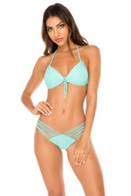 COSITA BUENA - Molded Push Up Bandeau Halter Top & Strappy Brazilian Ruched Back Bottom • Agua Dulce
