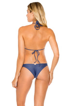 COSITA BUENA - Molded Push Up Bandeau Halter Top & Strappy Brazilian Ruched Back Bottom • Azulejos
