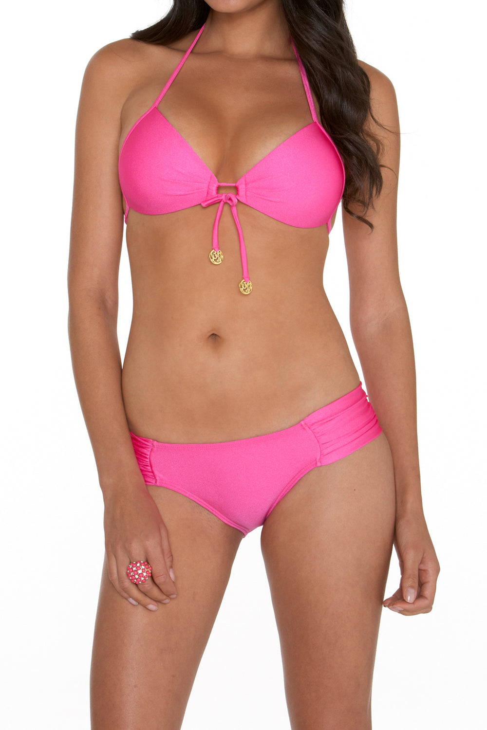 COSITA BUENA - Molded Push Up Bandeau Halter & Scrunch Side Full Bottom • Too Hot Miami