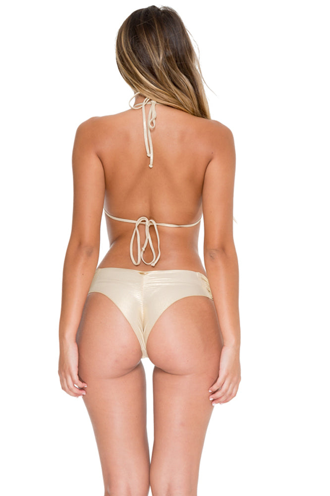 COSITA BUENA - Molded Push Up Bandeau Halter & Scrunch Panty Ruched Back • Gold Rush