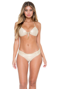 COSITA BUENA - Molded Push Up Bandeau Halter & Scrunch Panty Ruched Back • Gold Rush (892575252524)