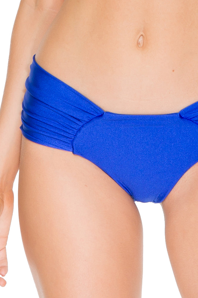 COSITA BUENA - Molded Push Up Bandeau Halter & Scrunch Panty Ruched Back • Electric Blue