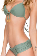 COSITA BUENA - Molded Push Up Bandeau Halter & Scrunch Panty Ruched Back • Army
