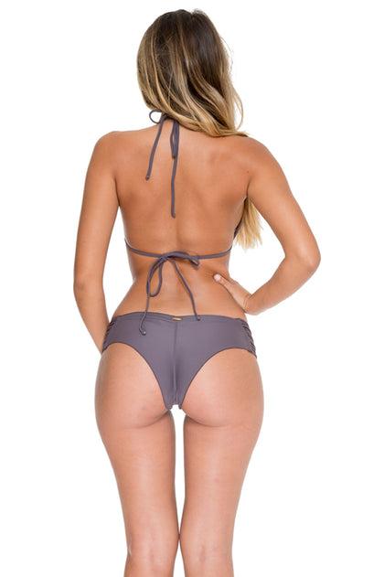 COSITA BUENA - Molded Push Up Bandeau Halter & Scrunch Panty Ruched Back • Piedra Gris