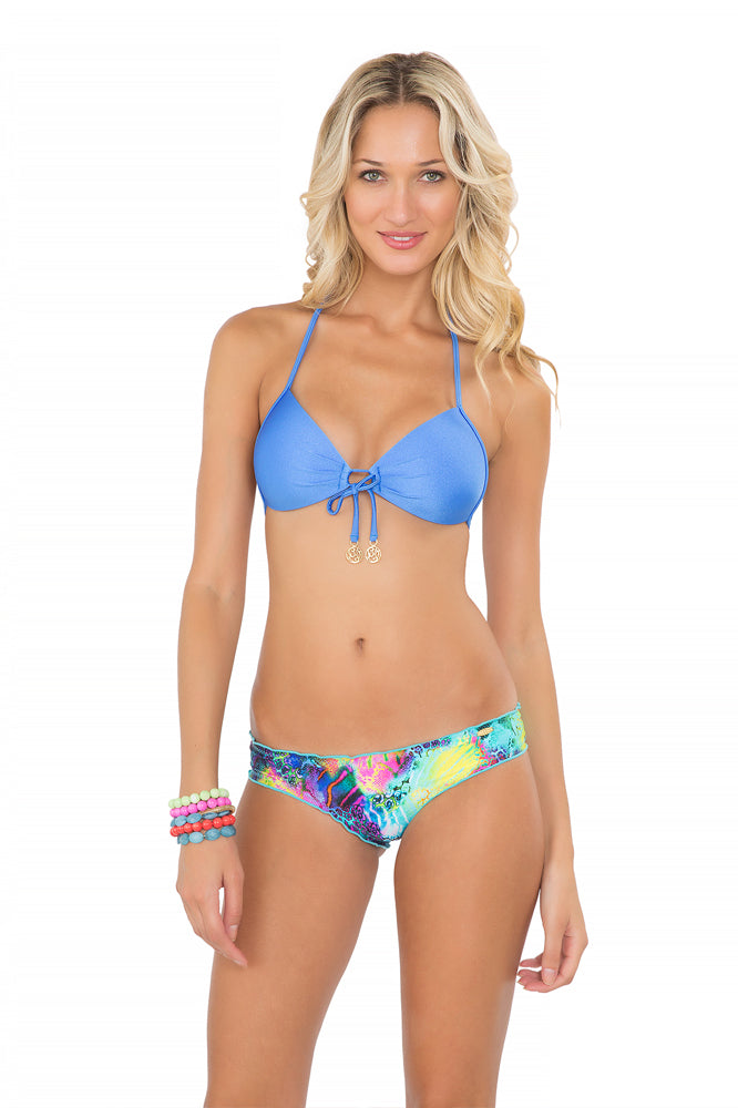 COSITA BUENA - Molded Push Up Bandeau Halter & Full Ruched Back Bottom • Multicolor
