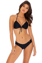 COSITA BUENA - Molded Push Up Bandeau Halter Top & Full Ruched Back Bottom • Black
