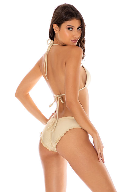 COSITA BUENA - Molded Push Up Bandeau Halter Top & Full Ruched Back Bottom • Gold Rush