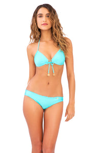 COSITA BUENA - Molded Push Up Bandeau Halter & Full Ruched Back Bottom • Aquamarine