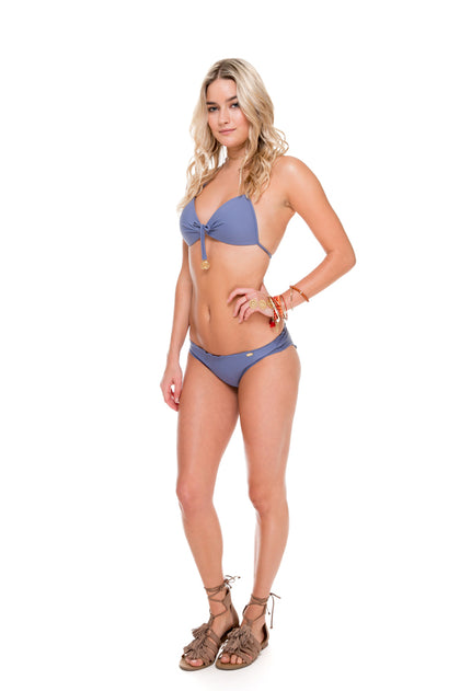 COSITA BUENA - Molded Push Up Bandeau Halter & Full Ruched Back Bottom • Blue Moon