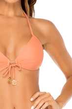 COSITA BUENA - Molded Push Up Bandeau Halter Top & Full Ruched Back Bottom • Azafran