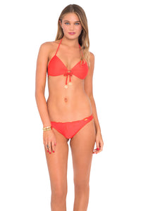 COSITA BUENA - Molded Push Up Bandeau Halter & Drawstring Back Scrunch Bottom • Luli Red
