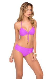 COSITA BUENA - Molded Push Up Bandeau Halter & Cheeky Tied Up Back Bottom • Purple Ocean