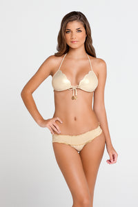 COSITA BUENA - Waves Molded Push Up Bandeau Halter & Pucher Band Ruched Minimal Coverage Bottom • Gold Rush
