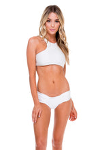 COSITA BUENA - High Neck Sporty Bra & Scrunch Panty Ruched Back • White