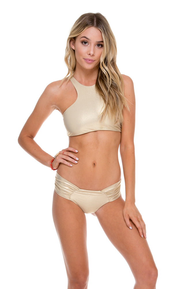 COSITA BUENA - High Neck Sporty Bra & Scrunch Panty Ruched Back • Gold Rush