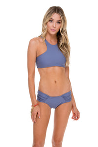 COSITA BUENA - High Neck Sporty Bra & Scrunch Panty Ruched Back • Blue Moon