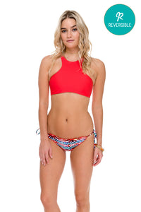 COSITA BUENA - High Neck Sporty Bra & Wavey Ruched Back Brazilian Tie Side Bottom • Multicolor