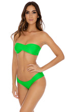 COSITA BUENA - Twist Bandeau Top & Scrunch Side Moderate Bottom • Garden Green