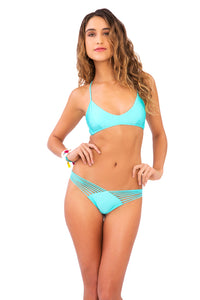 COSITA BUENA - Criss Cross Back Bra Top & Strappy Brazilian Ruched Back Bottom • Aquamarine