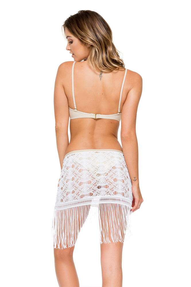 COSITA BUENA - Criss Cross Back Bra Top & Fringe Sheer Skirt • White  Gold