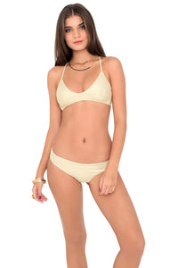 COSITA BUENA - Criss Cross Back Bra Top & Reversible Seamless Full Bottom • Gold Rush