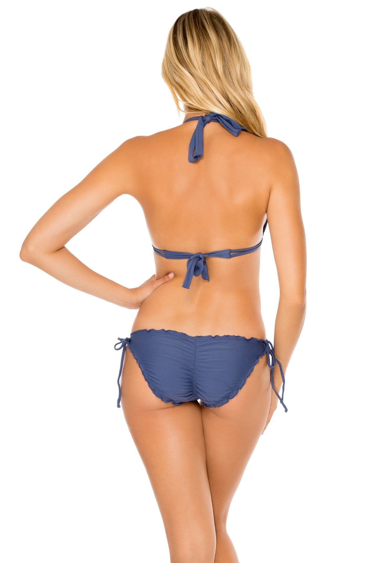 COSITA BUENA - Halter Triangle Top & Wavey Ruched Back Full Tie Side Bottom • Azulejos