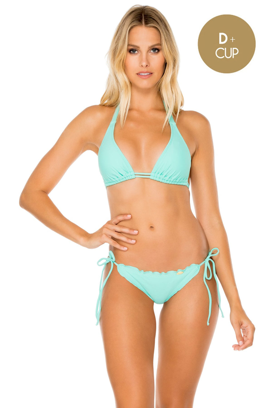 COSITA BUENA - Halter Triangle Top & Wavey Ruched Back Brazilian Tie Side Bottom • Agua Dulce