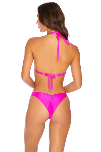 COSITA BUENA - Halter Triangle Top & Strappy  Ruched Back Bottom • Poppin Pink
