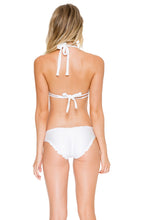 COSITA BUENA - Halter Triangle Top & Full Ruched Back Bottom • White