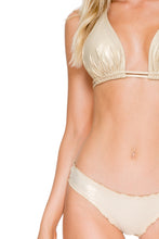 COSITA BUENA - Halter Triangle Top & Full Ruched Back Bottom • Gold Rush