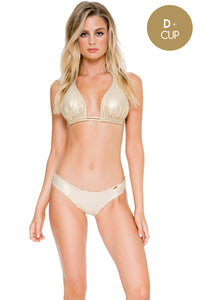 COSITA BUENA - Halter Triangle Top & Full Ruched Back Bottom • Gold Rush (892591013932)