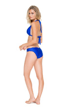 COSITA BUENA - Halter Triangle Top & Full Ruched Back Bottom • Electric Blue