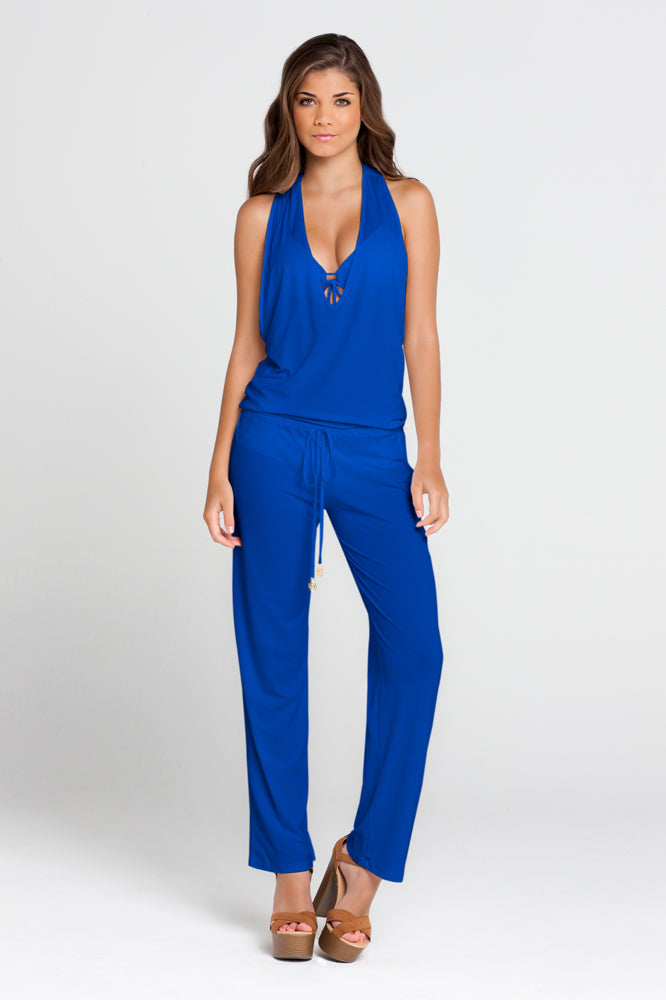 COSITA BUENA - T Back Long Jumpsuit • Electric Blue