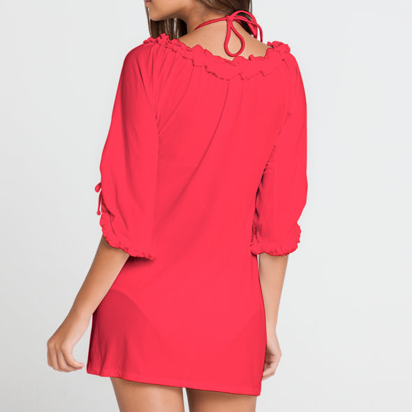 COSITA BUENA - Ruffle V Neck Dress-MNC