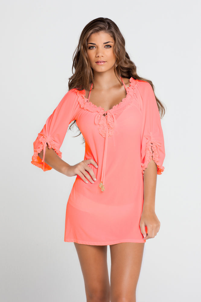 COSITA BUENA - Ruffle V Neck Dress • Hot Mess