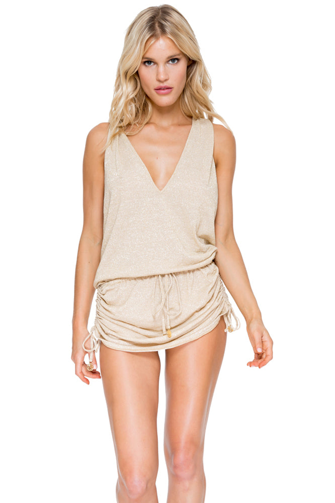 COSITA BUENA - T Back Mini Dress • Gold Rush