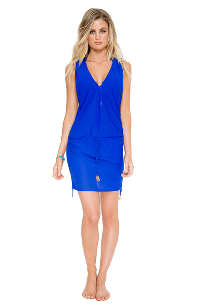 COSITA BUENA - T Back Mini Dress • Electric Blue