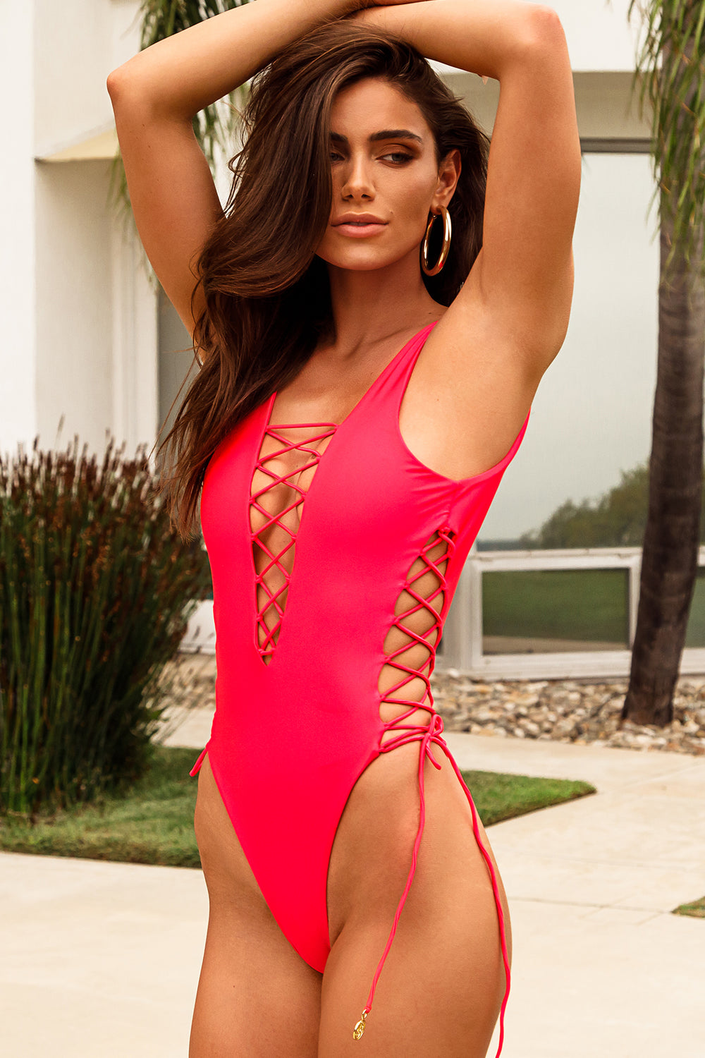 COSITA BUENA - Interlaced Open Side One Piece BodySuit • Bombshell Red
