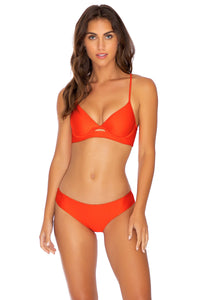 COSITA BUENA - Underwire Top & Seamless Full Ruched Back Bottom • Sangrita
