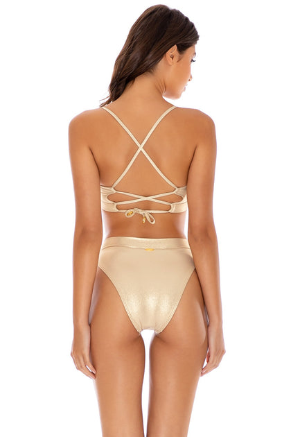 COSITA BUENA - Underwire Top & High Leg Banded Waist Bottom • Gold Rush