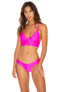 COSITA BUENA - Cross Back Bustier Top & Seamless Wavey Ruched Back Bottom • Poppin Pink